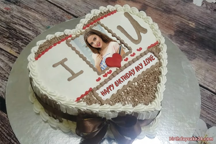 Excellent I Love You Birthday Cake With Photo Online Personalised Birthday Cards Rectzonderlifede