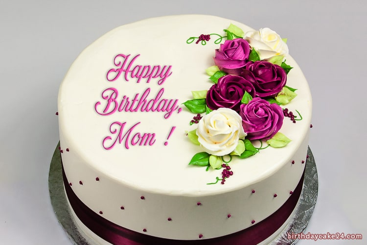 Enjoyable Happy Birthday Wish Cake For Mom With Name Personalised Birthday Cards Bromeletsinfo