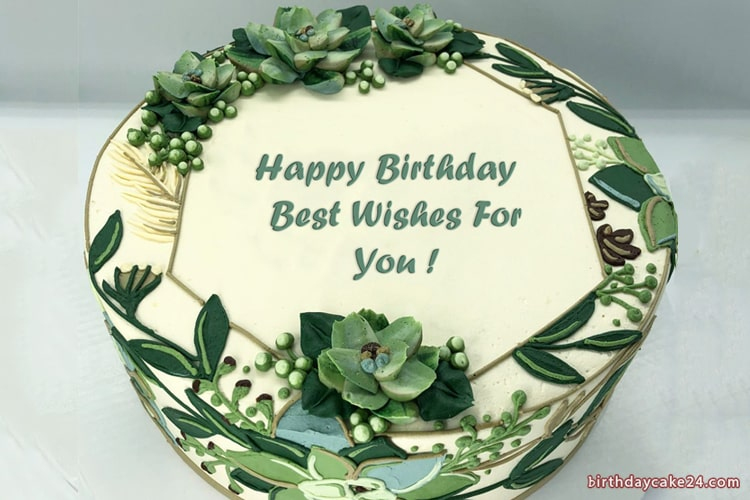Green Forest Birthday Cake With Name