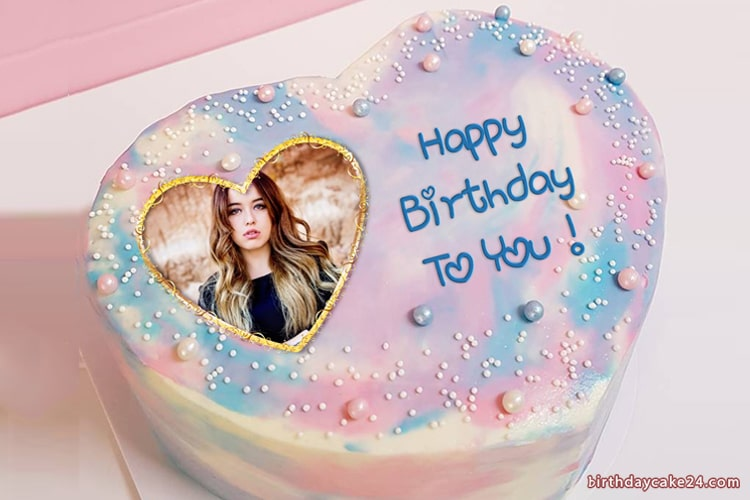 Pink Heart Birthday Cake With Photo And Name Edit