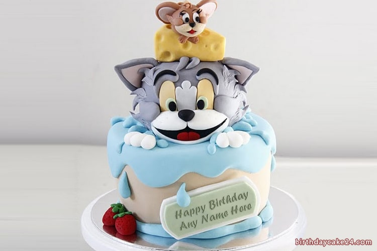 Amazing Cute Tom And Jerry Kids Birthday Cake With Name Online Personalised Birthday Cards Beptaeletsinfo
