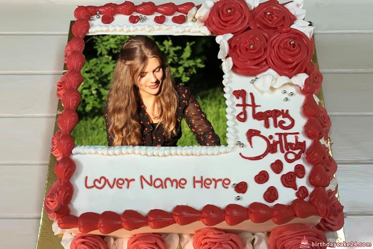 Red Rose Birthday Cake For Lover With Name And Photo Edit