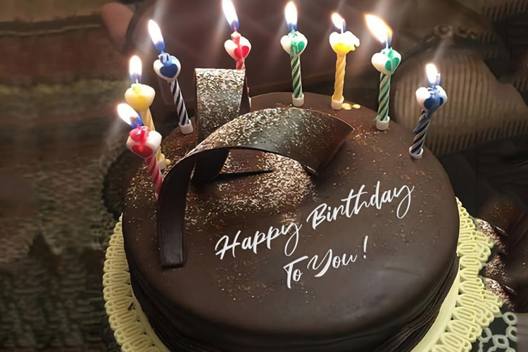 Write Name On Chocolate Happy Birthday Cake With Candle