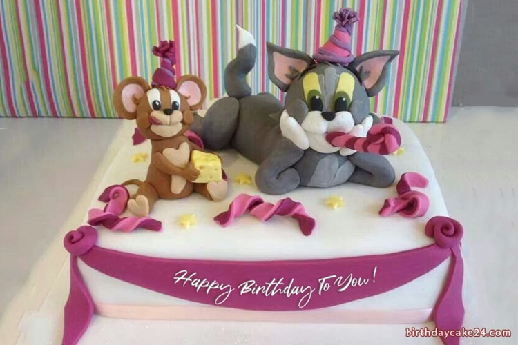 Write Name on Tom and Jerry Birthday Cake For Kids