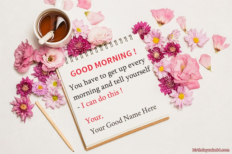 Write Name On Good Morning Card With Flower