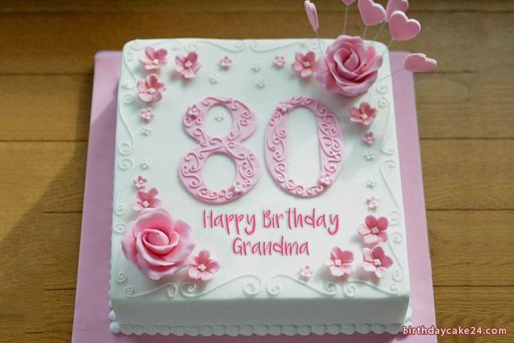 Stupendous Happy 80Th Birthday Cake With Name Funny Birthday Cards Online Alyptdamsfinfo