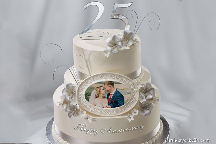 Happy 25th Wedding Anniversary Cake With Photo Frame