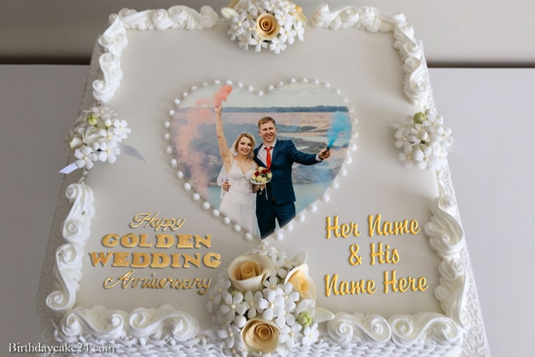 Happy 50th Wedding Anniversary Cake With Name And Photo Frame