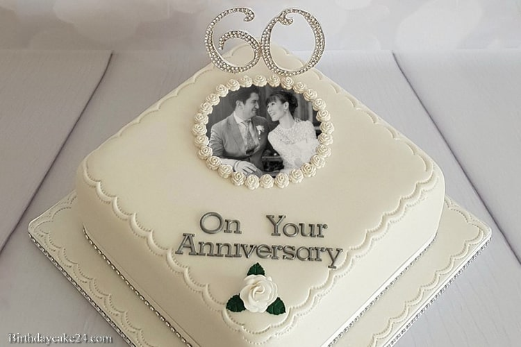 Happy 60th Wedding Anniversary Cake With Photo Edit