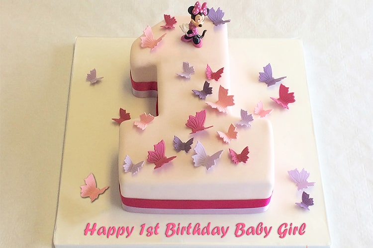Groovy 1St Number Birthday Cake For Baby Girl With Name And Wishes Personalised Birthday Cards Sponlily Jamesorg