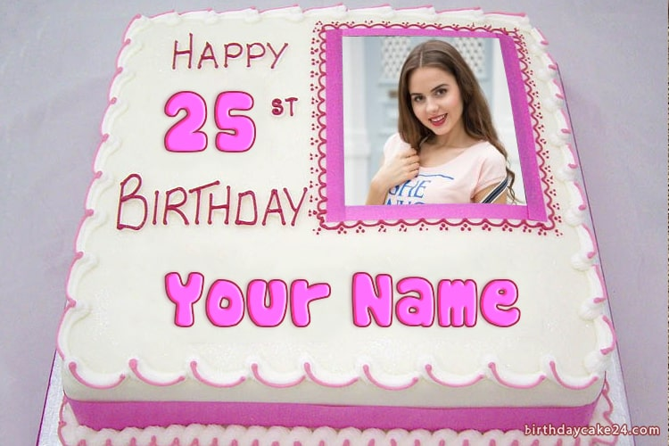 Photo On Pink Birthday Cake With Name And Age Editing