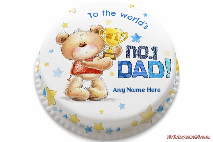 Happy Fathers Day No1 Dad Wishes Cake With Name