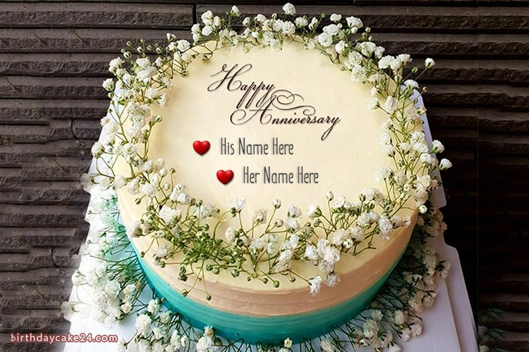 Marvelous Happy Anniversary Cake With Name Online Free Funny Birthday Cards Online Overcheapnameinfo