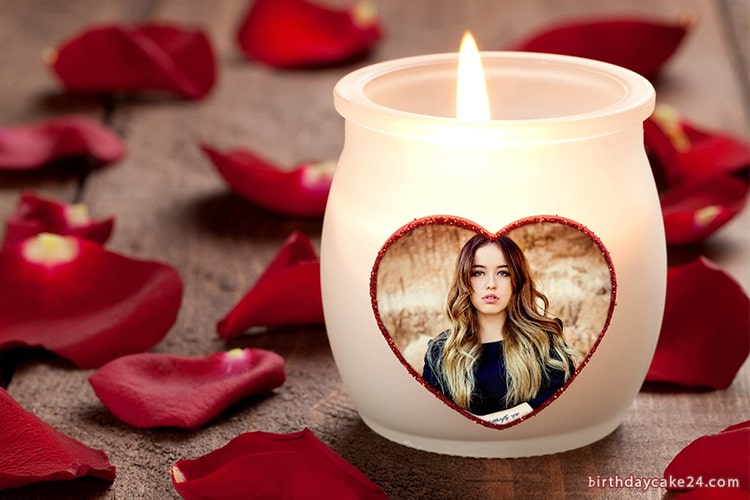 Photo Frame On Romantic Love Candle Cup