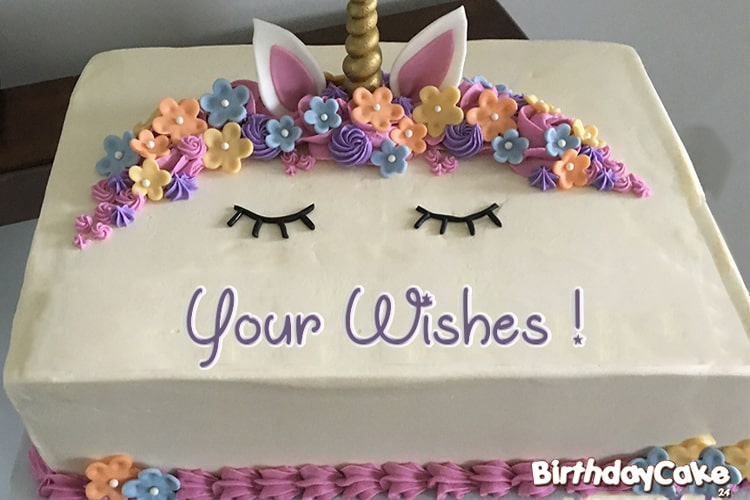 Unicorn Cake For Happy Birthday Wishes With Name