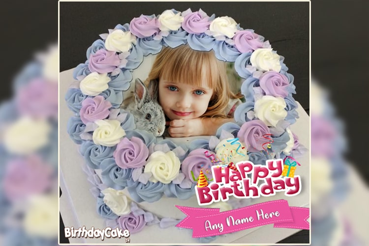 Happy Birthday Flower Cake With Your Name And Photo