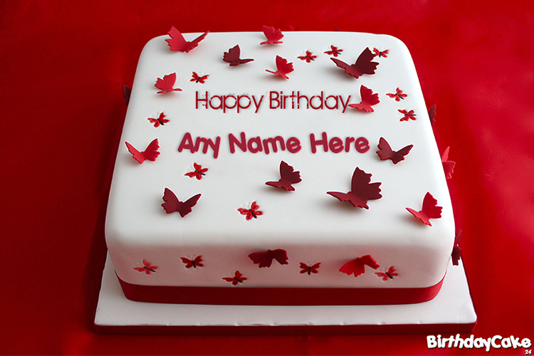 Ruby Butterflies Birthday Cake Wishes With Name