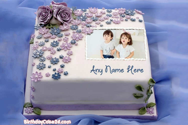 Happy Birthday Purple Flower Birthday Cake With Name And Photo Edit