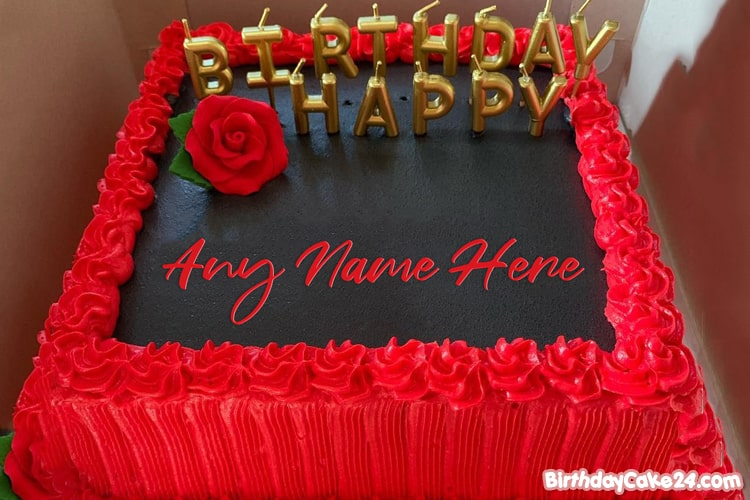 Incredible Red Rose Birthday Cake By Name Generator Birthday Cards Printable Benkemecafe Filternl