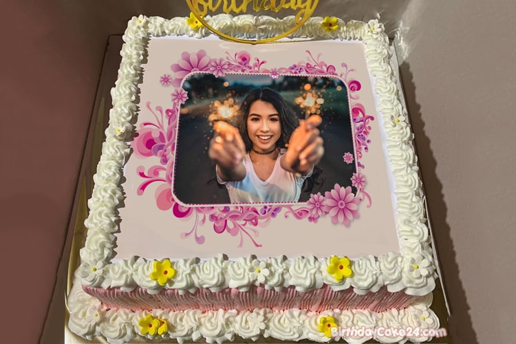 Online Flower Birthday Cake With Photo Edit