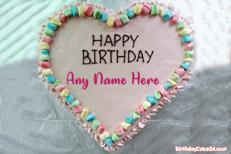 Sweet Heart Candy Wishes Cake With Name Generator