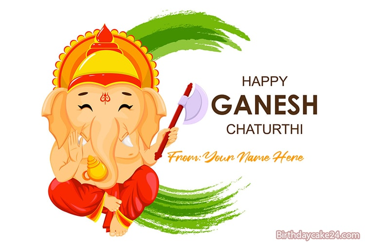 Happy Ganesh Chaturthi Greeting Card With Name Edit