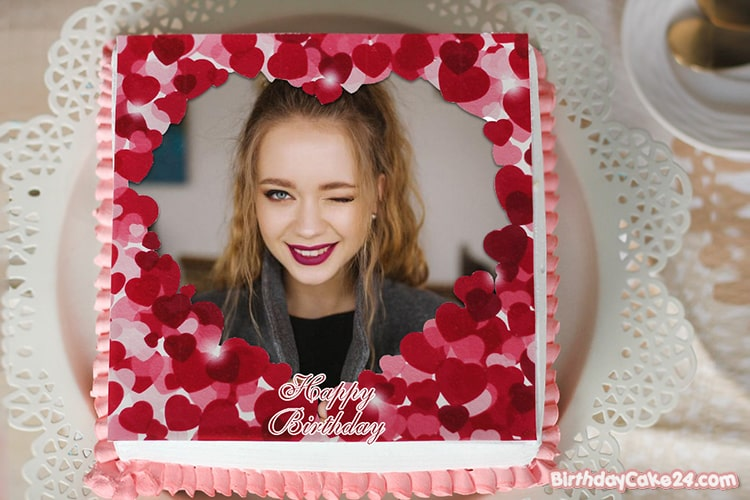 Love Heart Birthday Cake With Photo Frame Edit