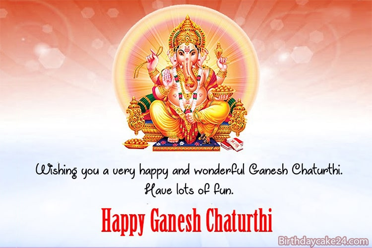 Ganesh Chaturthi Card With Name And Wishes