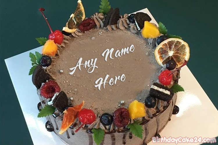 Chocolate Fruit Cake With Name  Generator