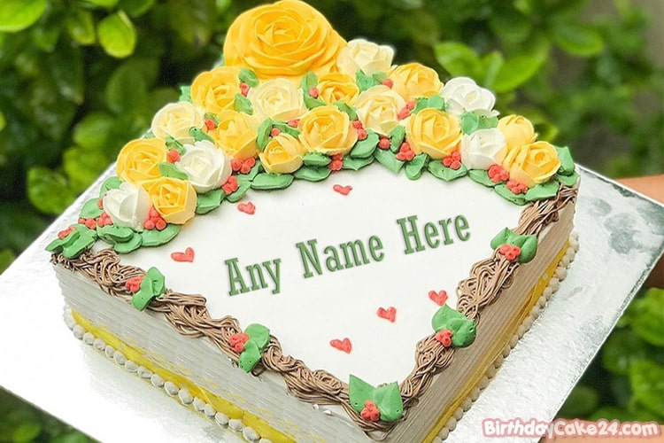 Write Your Name On Flower Birthday Cake Pictures