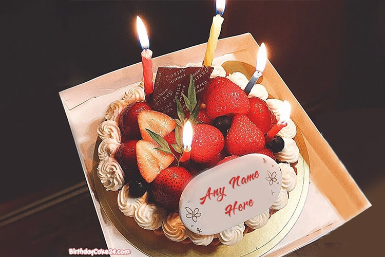 Strawberry Cake With Candle With Name Online