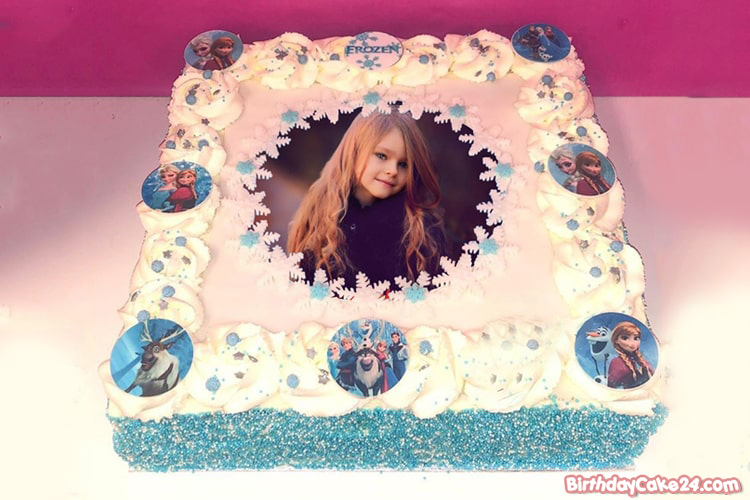 Tremendous Lovely Frozen Elsa Birthday Cake With Photo Editing Funny Birthday Cards Online Overcheapnameinfo