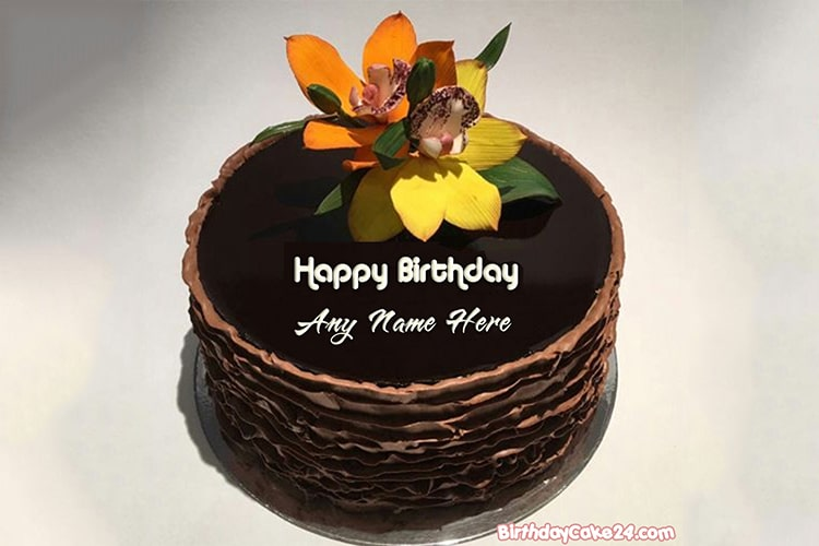 Write Name On Chocolate Birthday Cake With Flowers