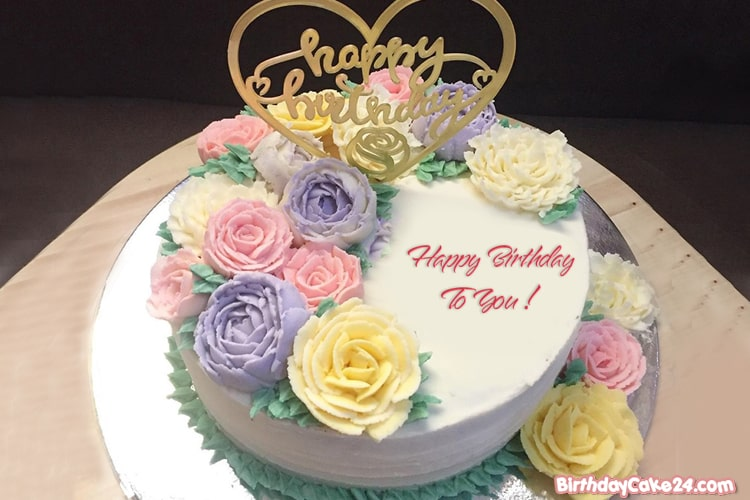 Colorful Flowers Happy Birthday Cake With Name