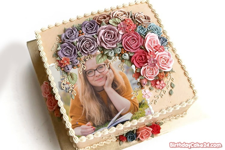 Beautiful Flowers Birthday Cake With Photos Frame