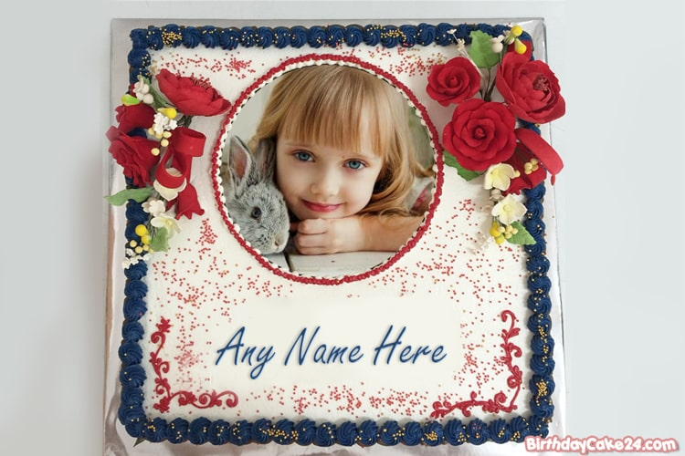Rose Birthday Cake With Name And Photo Edit