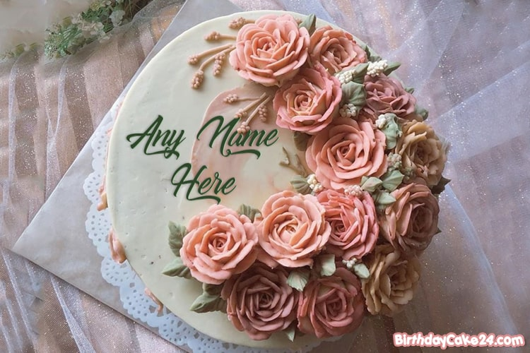Beautiful Flowers Birthday Cake By Name