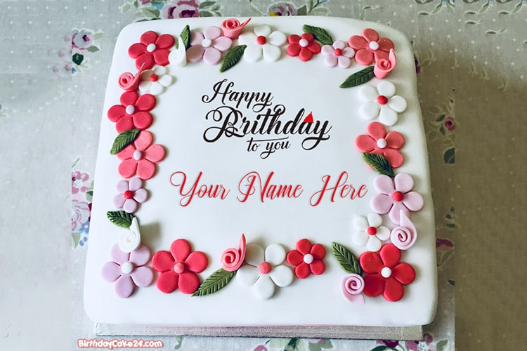 Happy Birthday Flower Cakes With Name Edit