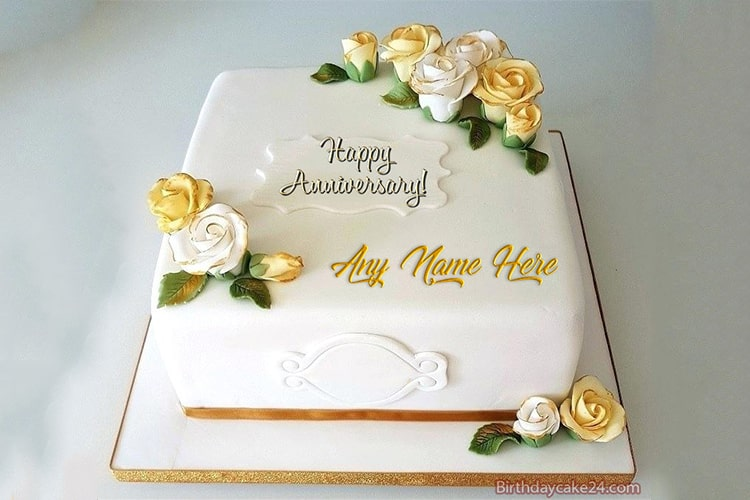 Golden Anniversary Wishes Cake With Name Edit