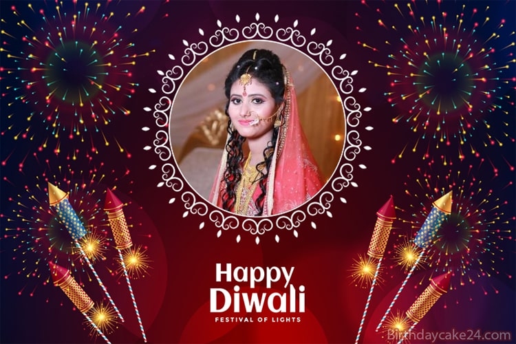 Happy Diwali Greeting Card With Photo Frames