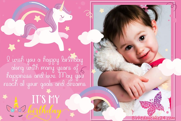 Unicorn Birthday Greeting Cards For Girl