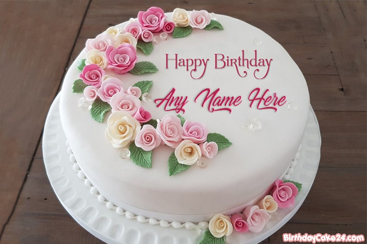 Fantastic Pink Rose Flower Birthday Cakes With Name Generator Funny Birthday Cards Online Alyptdamsfinfo
