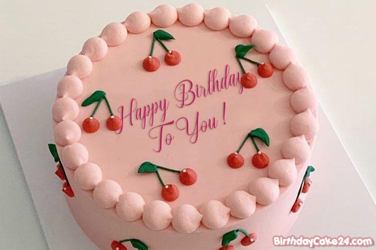Strange Happy Birthday Cherry Cake Image With Name Editor Birthday Cards Printable Giouspongecafe Filternl