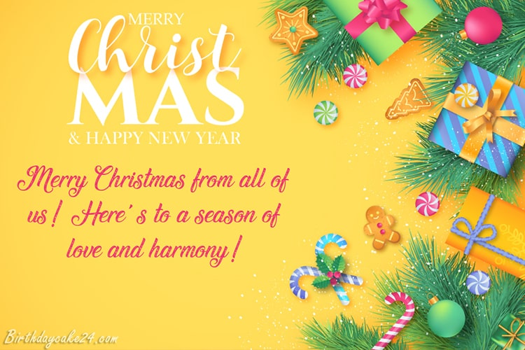 Merry Christmas & Happy New Year Wishes Card Online