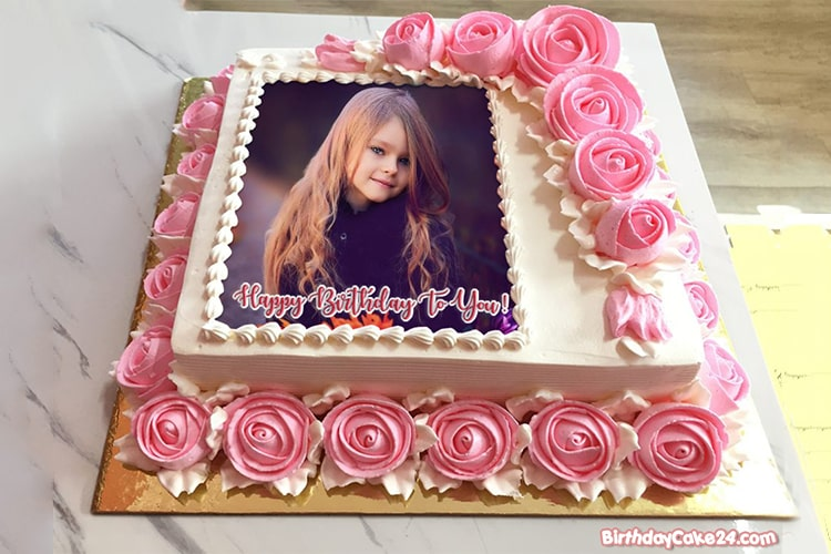 Lovely Rose Birthday Cake With Name And Photo Frame