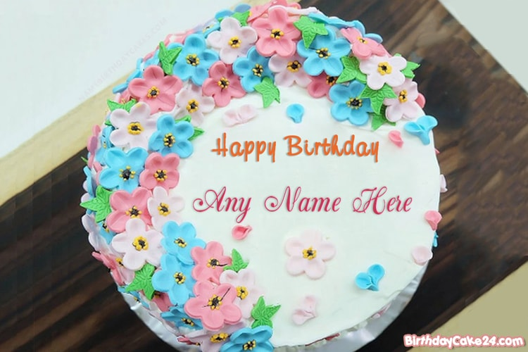 Little Flower Birthday Cake With Name Editor