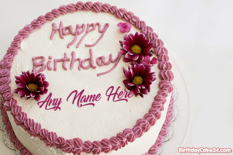 Lovely Flower Birthday Cake With Name Edit