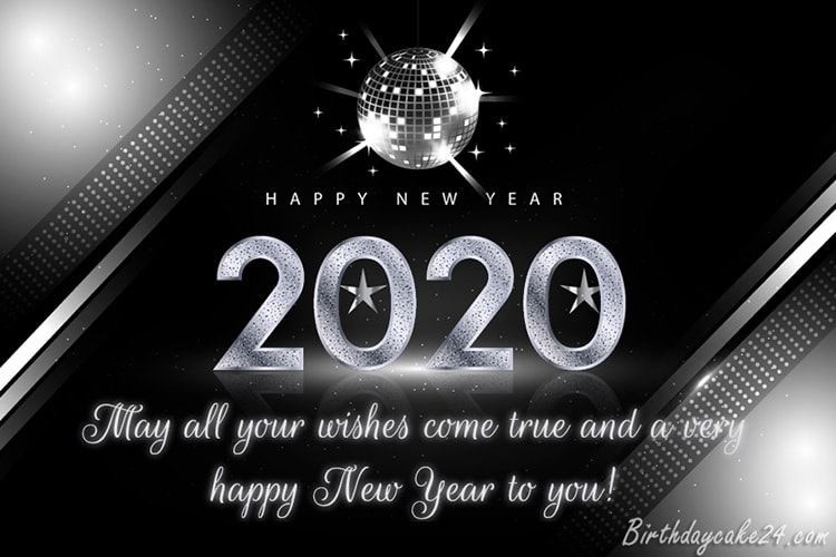 Free Online Silver Happy New Year 2020 Card Maker