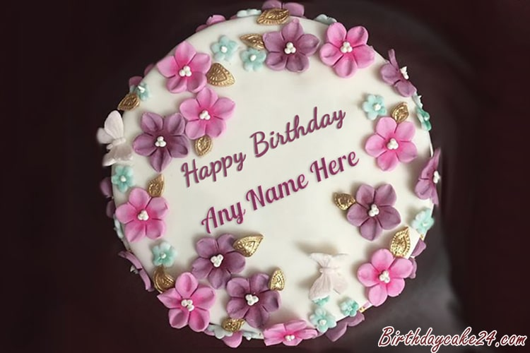 Happy Birthday Colorful Flower Cake With Name Editor