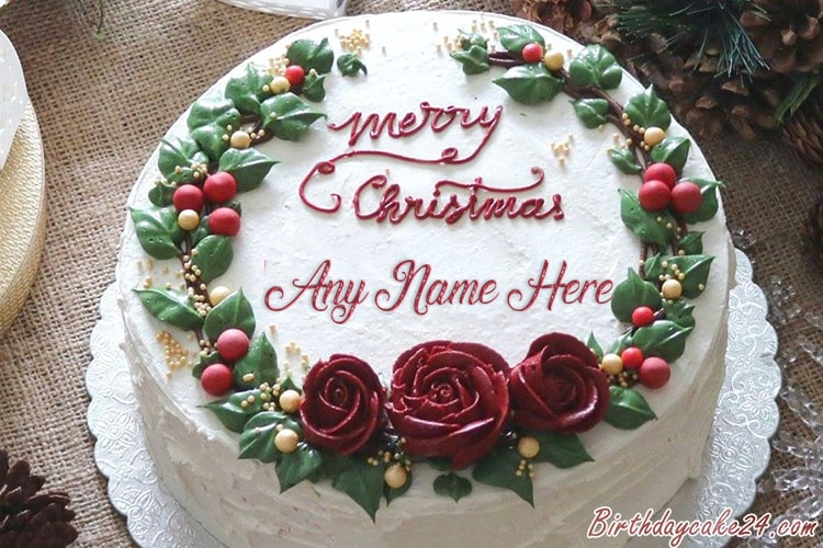 Incredible Write Name On Christmas Cakes For Everyone Personalised Birthday Cards Veneteletsinfo